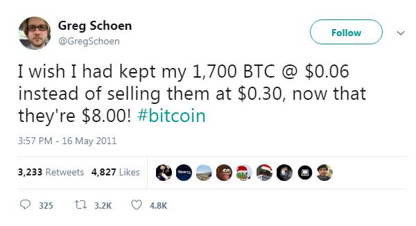 I wish I kept my bitcoin tweet